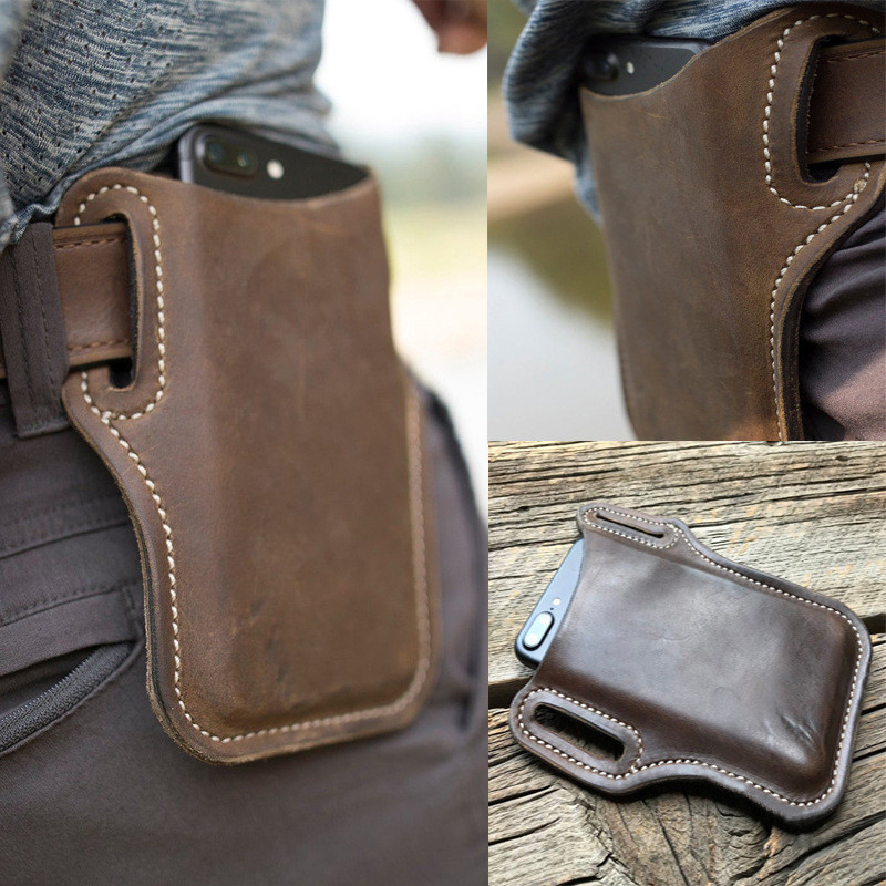 Men Cellphone Loop Holster Case Belt Waist Bag Props PU Leather Purse