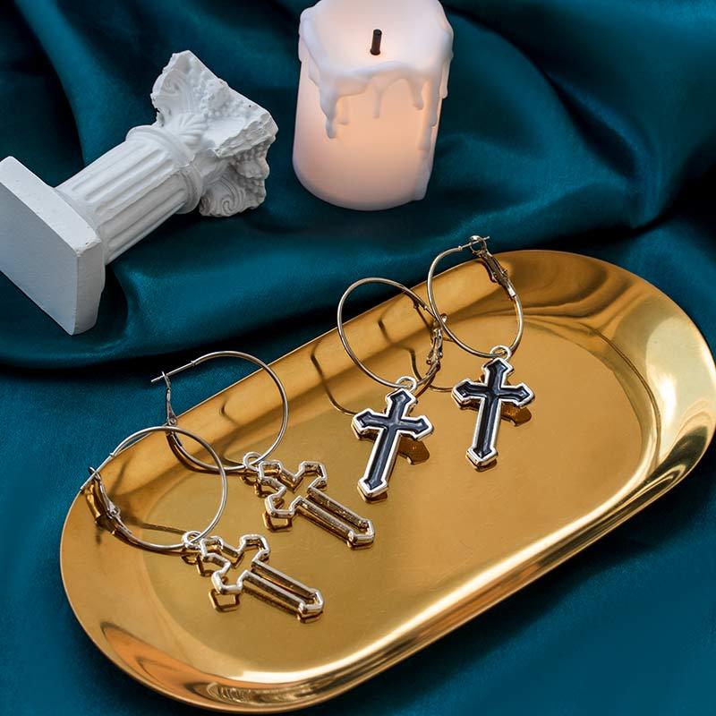 Vintage Statement Gold Cross Drop Earrings Man and Women 2020 New Trend Small Long Dangle Earrings Metal Party Earring Jewelry