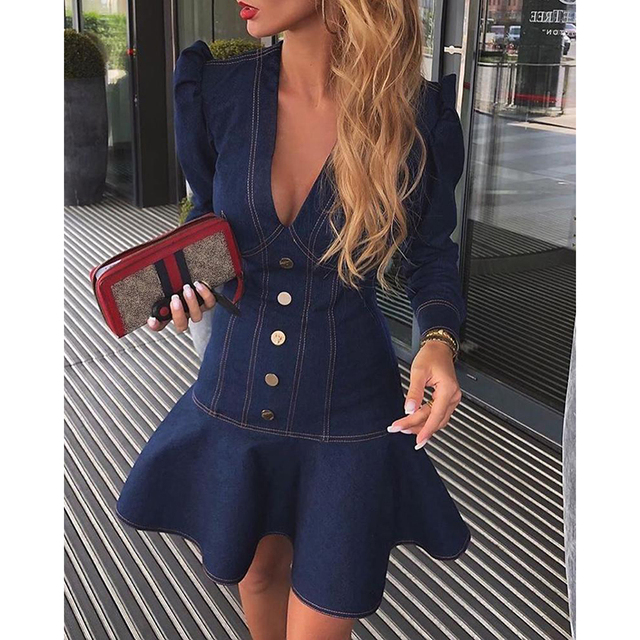 Denim Dress Women Solid Color Button Long Sleeve