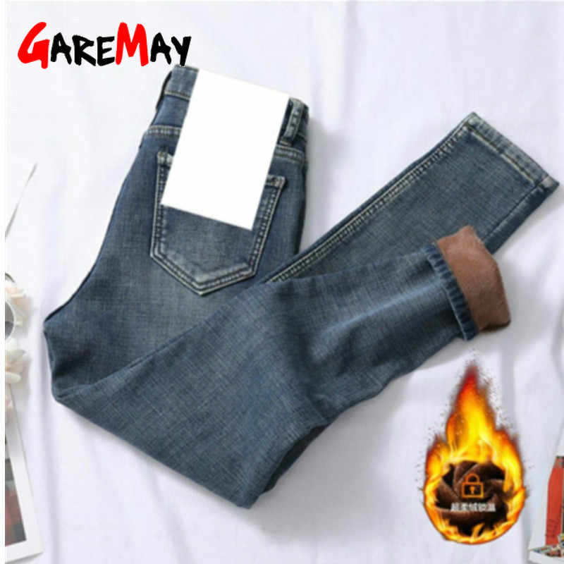 GareMay frauen Winter schwarz Jeans Hohe Taille Dünne Hosen Casual Samt Hose Weibliche warme Denim jeans für Frauen bleistift hosen