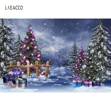 Laeacco Winter Snow Christmas Trees Gifts Scene Photography Backgrounds Vinyl Custom Photographic Backdrops For Photo Studio