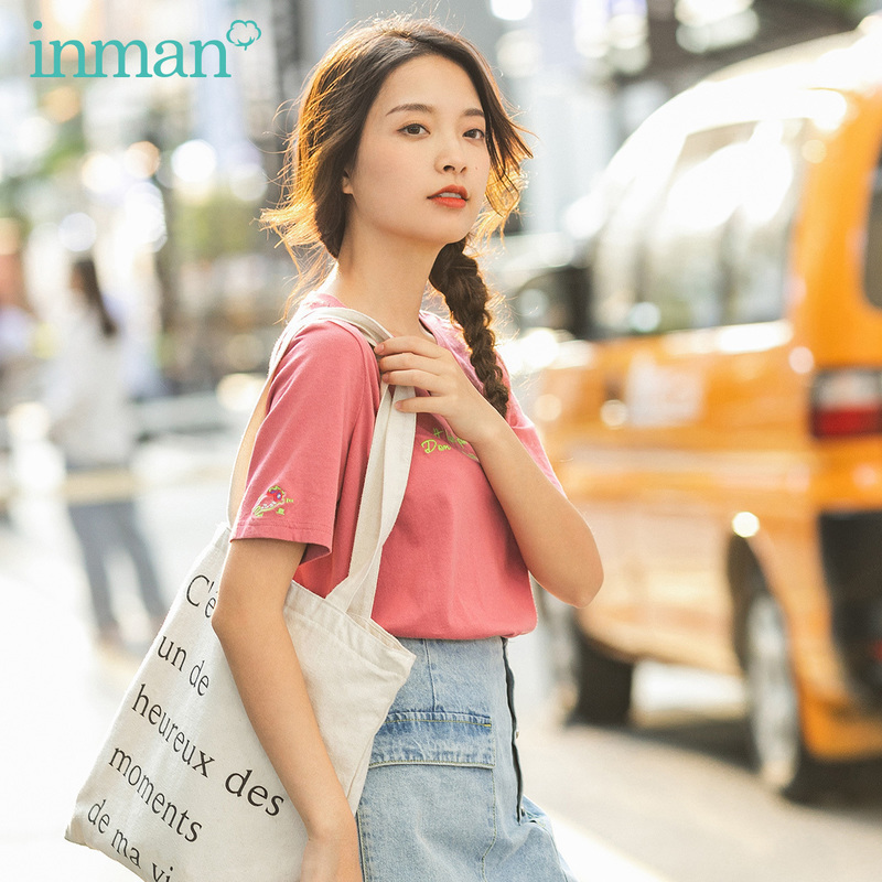 INMAN 2020 Spring New Arrival Literary Round Collar Dropped Shoulder Loose Short Sleeve Pullover T-shirt