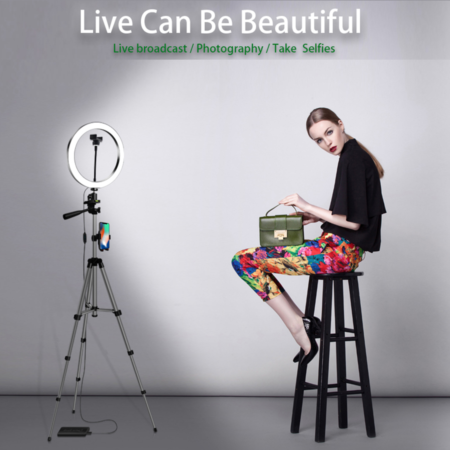 <font><b>16</b></font> 20CM LED <font><b>Ring</b></font> <font><b>Light</b></font> Photography Kit Photo Studio Camera <font><b>Light</b></font> Makeup Video Selfie Fill Lamp with Phone Clip Holder Tripod image