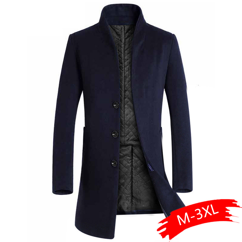 2019 Men Winter Long Wool Blends Mens Overcoats Warm Thicken Mens Wool Men Winter Casual Male Coats Men