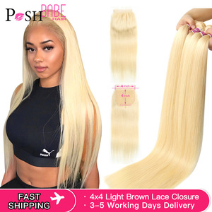 POSH BABE 5x5 Closure with 2 3 4 Bundle Weave 28 inch 613 Honey Blonde Colored Remy Malaysian Straight Hair Bundles with Closure(China)