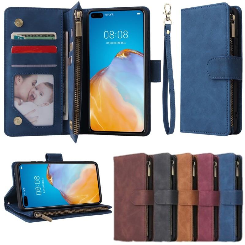 Voor Huawei P40 Pro P40Lite P30 Mate30Pro Rits Portemonnee Case Flip Lederen Kaartsleuven Telefoon Tas Voor Honor 10i 20i 10 20 Lite 20Pro