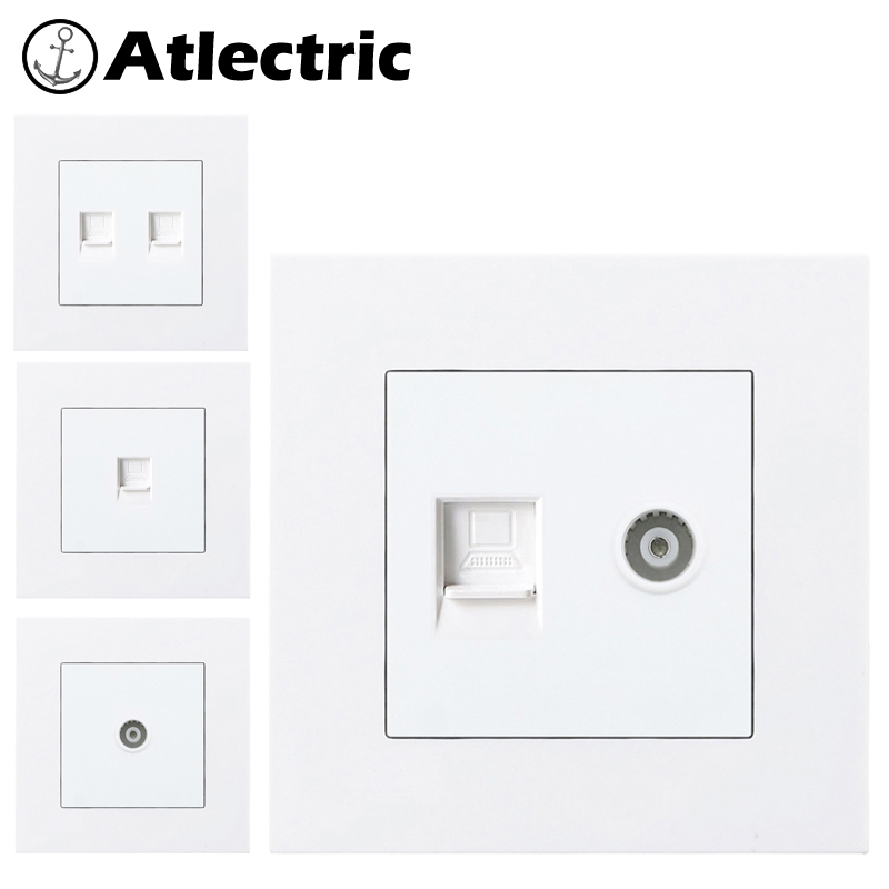 Atlectric PC Plastic Panel Internet TV Socket Rj45 With TV Socket Dual Rj45 Port Data Socket Outlet Plug 86mm*86mm