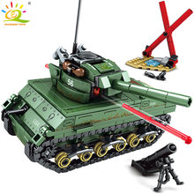 437pcs WW2 US M4 Sherman Tanks Building Blocks legoing Army Soldier Military Model Bricks kit Construction Toys for children boy(China)