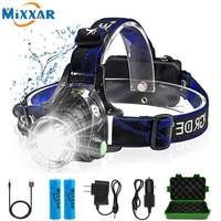 ZK20 LED Scheinwerfer Wiederaufladbare Kopf Lampe Zoom Wasserdichte Scheinwerfer Taschenlampe Drei Licht Schalter Modi USB Lade Camping-in Scheinwerfer aus Licht & Beleuchtung bei