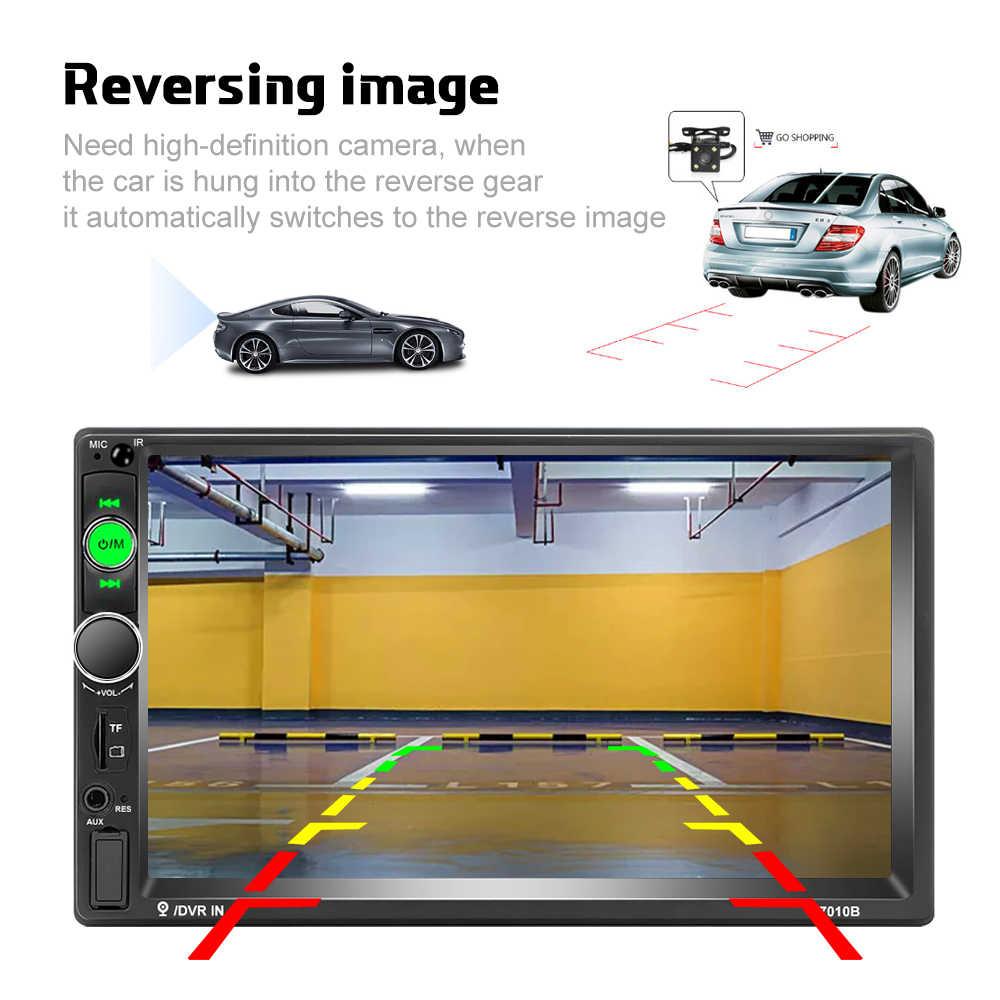 "Podofo 2 Din 7 ""HD 車マルチメディアプレーヤーアンドロイド Mirrorlink Autoradio 7010B カーラジオの Bluetooth FM USB AUX TF 自動オーディオステレオ"