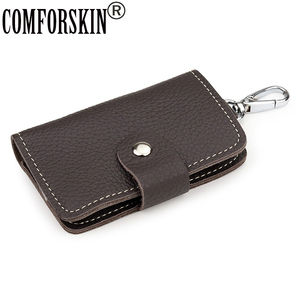 High Quality Cowhide Leather Men Key Wallet Premium 100% Genuine Leather Male Key Holder 2020 New Arrivals Key Bag For Men(China)