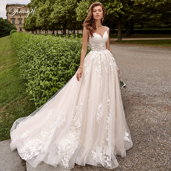 Traugel Illusion Scoop A Line Lace Wedding Dresses Elegant Cap Sleeve Bridal Dress Court Train Wedding Gowns For Bride Plus Size