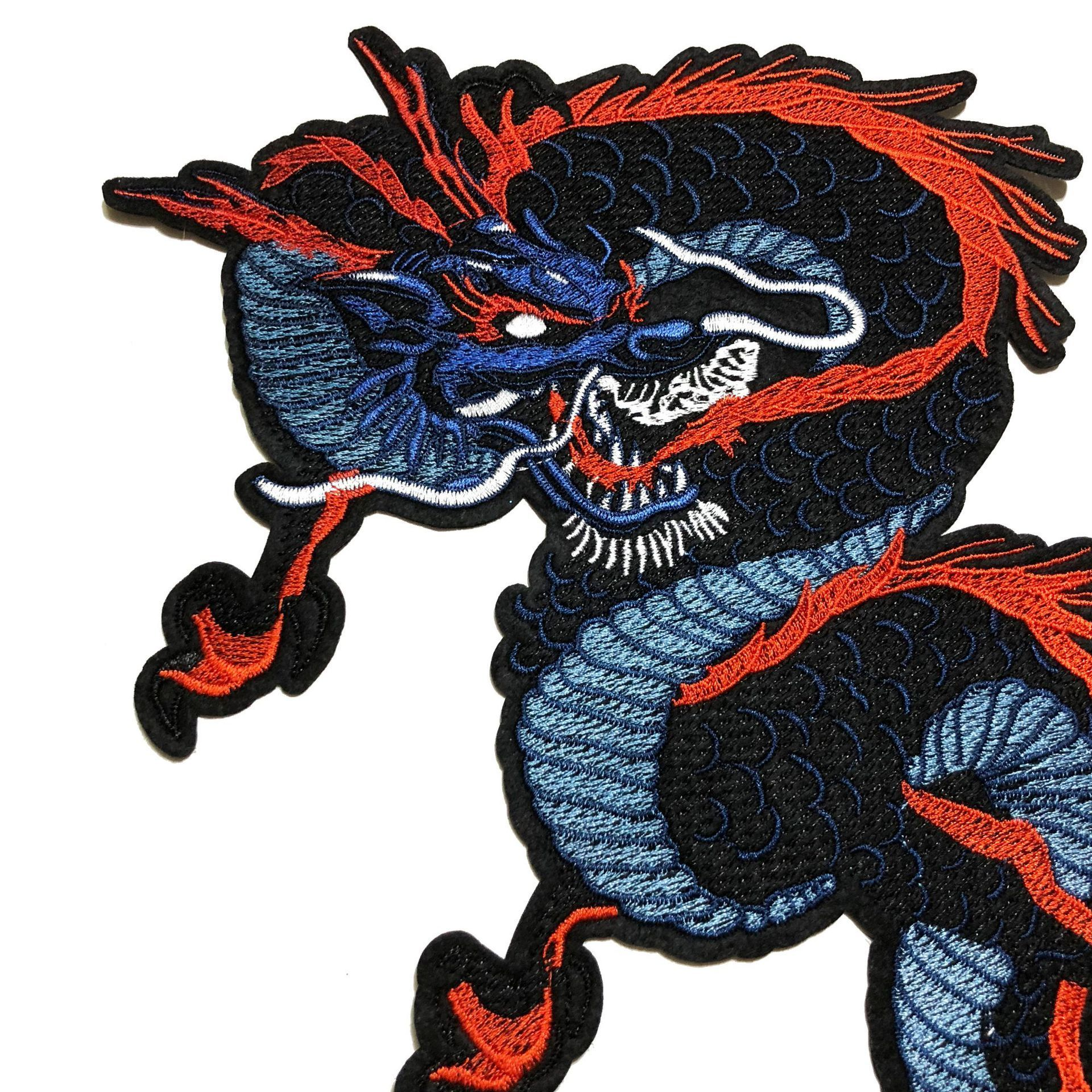 1PCS Chinese Style Animal Exquisite Black Dragon Embroidery <font><b>Patch</b></font> Clothes Applique for T-shirt Clothing Accessory <font><b>coat</b></font> <font><b>Patch</b></font> image