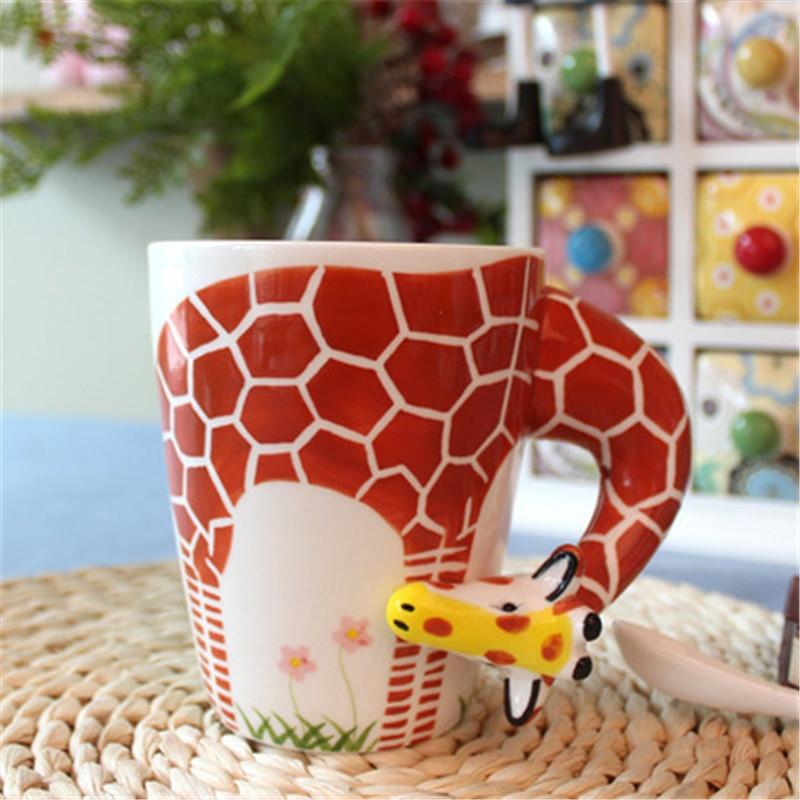 Creative Cartoon Porcelain Mugs Ceramic 3D Animal Cute  Coffee Milk Cup Gift Handpainted Home