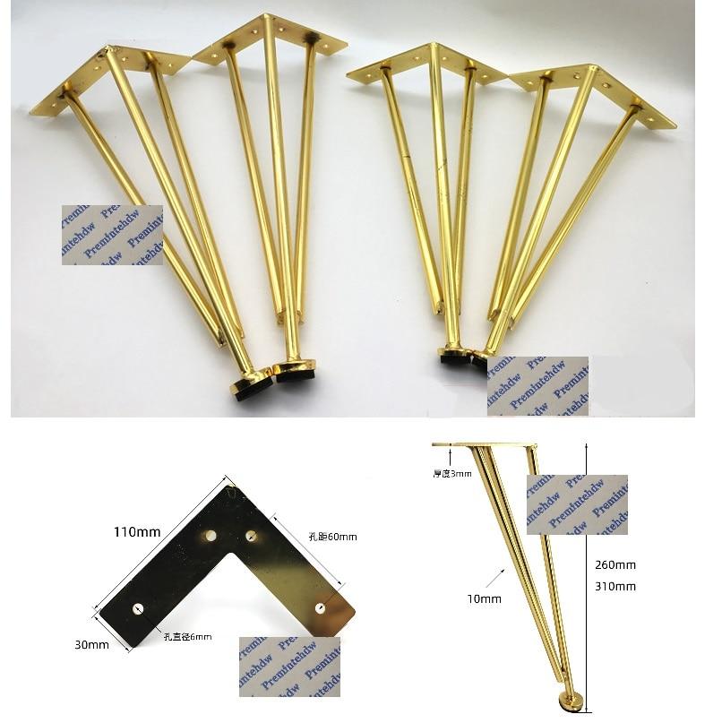 2Pcs/Lot Gold Matte Black North European Triangle Reforcement Feet Leg Sofa Bathroom Cabinet Coffee Bar Table Cupboard