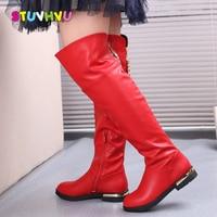 Dziewczęce buty zimowe nad kolana buty moda kitki skórzane wodoodporne dzieci buty Plus aksamitne ciepłe buty dziecięce czarny czerwony w Buty od Matka i dzieci na
