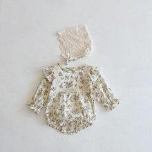 Milancel 2021 roupas de bebê floral da criança meninas bodysuits infantil macacão com rendas chapéu meninas outerwear