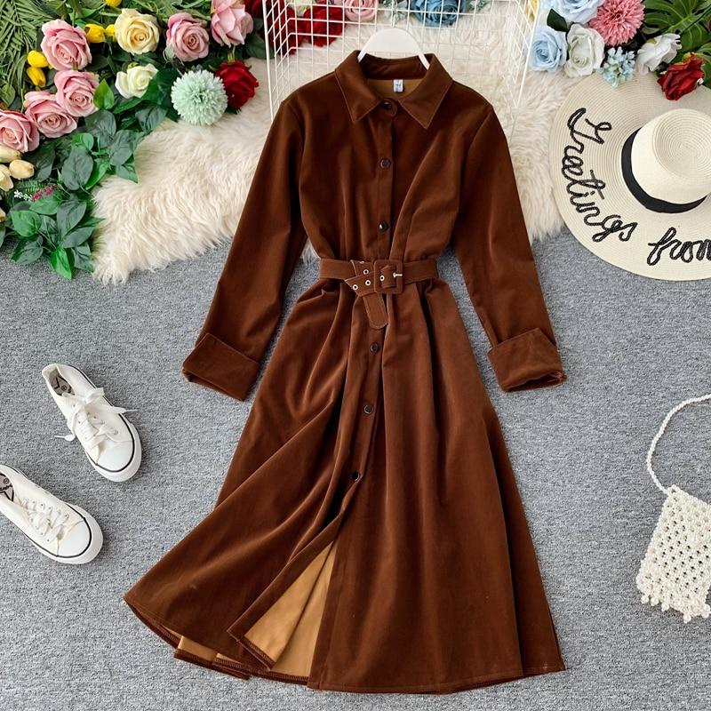 Women Vintage Sashes Dress Ladies Corduroy Long Sleeve Solid Color Elegant Dress 2020 New Fashion Spring Dresses