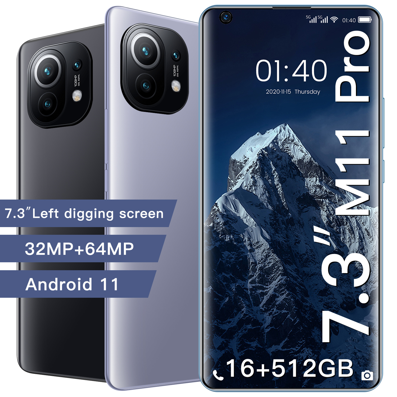 New Arrival M11 Pro 7.3 Inch Cellphone Android 11 6800mAh 16+512G 32MP+64MP...