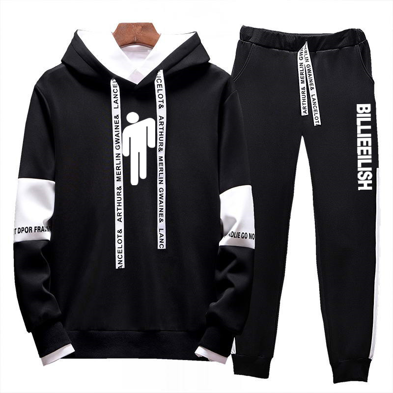 New Hooded Tracksuit Men Sets 2019 Billie Eilish Autumn Men's Hoodies + Pants Set Fashion Jogger Tracksuits Male Slim Sweatshirt