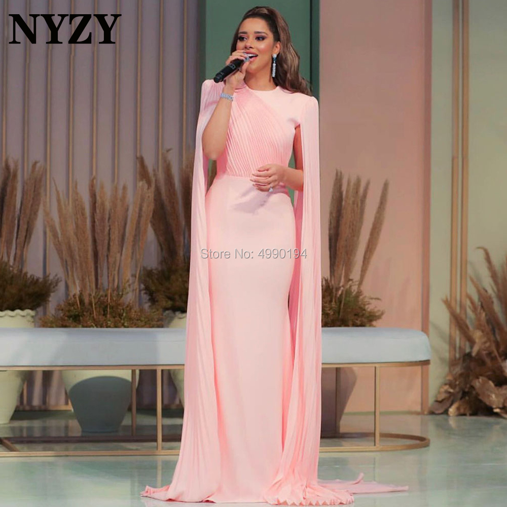 Long Mother Of The Bride Groom Dresses NYZY M252 Pleats Chiffon Cape Cloak Sleeves Pink Evening Formal Dress 2020