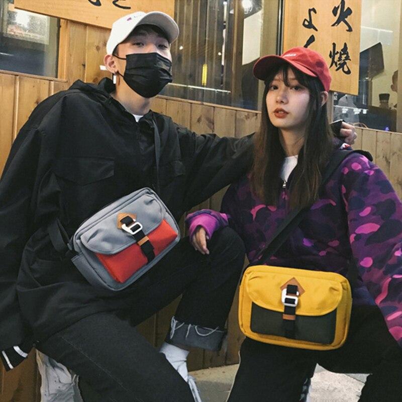 Men And Women Canvas Waist Bag Fanny Pack Trend Street Style Hip Hop Bag Chest Bags Large Capacity Ladies Crossbody Bag Handy