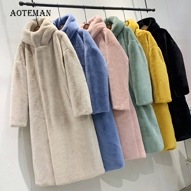 Autumn Winter Faux Fur Coat Women 2019 Casual Luxury Long Oversize Loose Hooded Mane Fur Jacket Female Thick Warm Plush Outwear