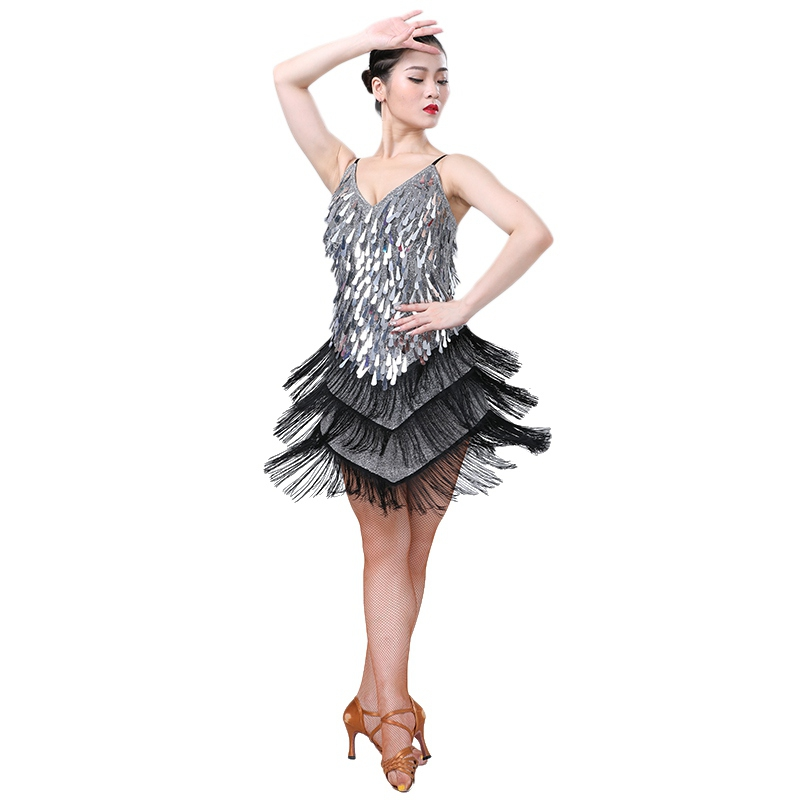 Lady Latin Dance Dress Flapper Dresses Charleston Gatsby Party Halloween Tassel Fringes Sequin Dancing Competition