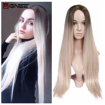 Wignee Long Straight Hair Middle Part  Synthetic Wig For Women Ombre Baby Ash Blonde/Pink/Red/Brown/Blue Natural Hair Female Wig wignee 2 tone ombre brown ash blonde synthetic wig for women middle part short straight hair high temperature cosplay hair wigs
