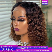 Colored Lace Front Human Hair Wigs For Women 13X4 Curly Lace Front Wig Ombre Human Hair Wig Bob Lace Front Wigs Pre Plucked