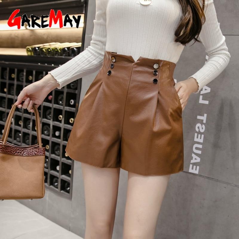 GareMay 2019 Autumn Winter Women's Leather Shorts Women High Waist Korean Style Plus Size PU Panties Female Shorts For Girls