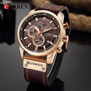 Image 1 - CURREN montre de sport analogique en cuir pour homme, de luxe, horloge à Quartz, de marque, style militaire, 8291