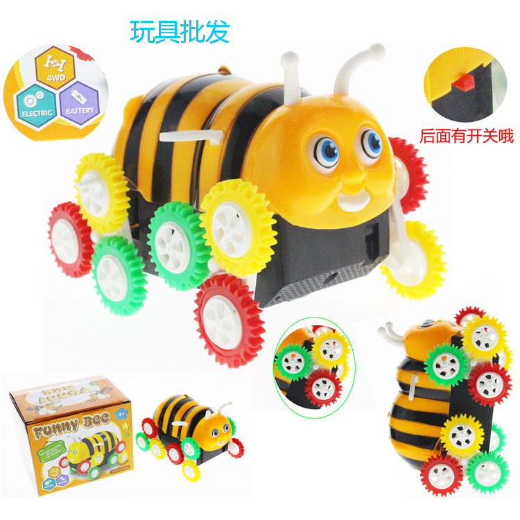 Electric Toy Car Small Bee Dump Truck Automatic Flipping CHILDREN'S Electric Car Stall Toy