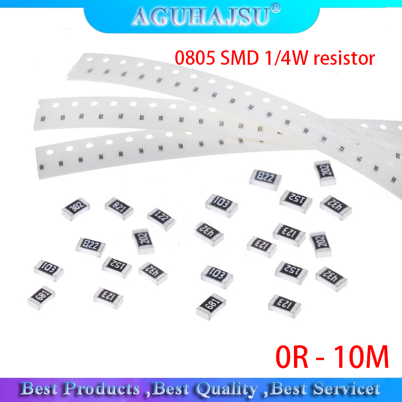 100 шт. 0805 SMD 1/4 Вт Резистор 0R - 10 м 0 Ом 10R 100R 220R 330R 470R 1K 4,7 K 10K, 47 (Европа) K 100K 0 10 100 330 470 Ом