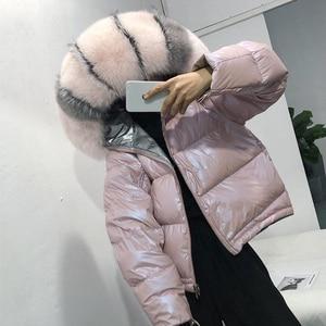 Image 2 - Nosić po obu stronach damska kurtka puchowa moda luźna lamówka nieregularne błyszczące kurtki typu Parka kobieta z kapturem ciepłe damskie kurtki zimowe
