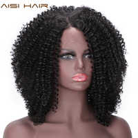 AISI HAIR Short Afro Kinky Curly Wig Synthetic Black Lace Front Wigs for Black Women Side Part Hair Heat Resistant Fiber Wigs
