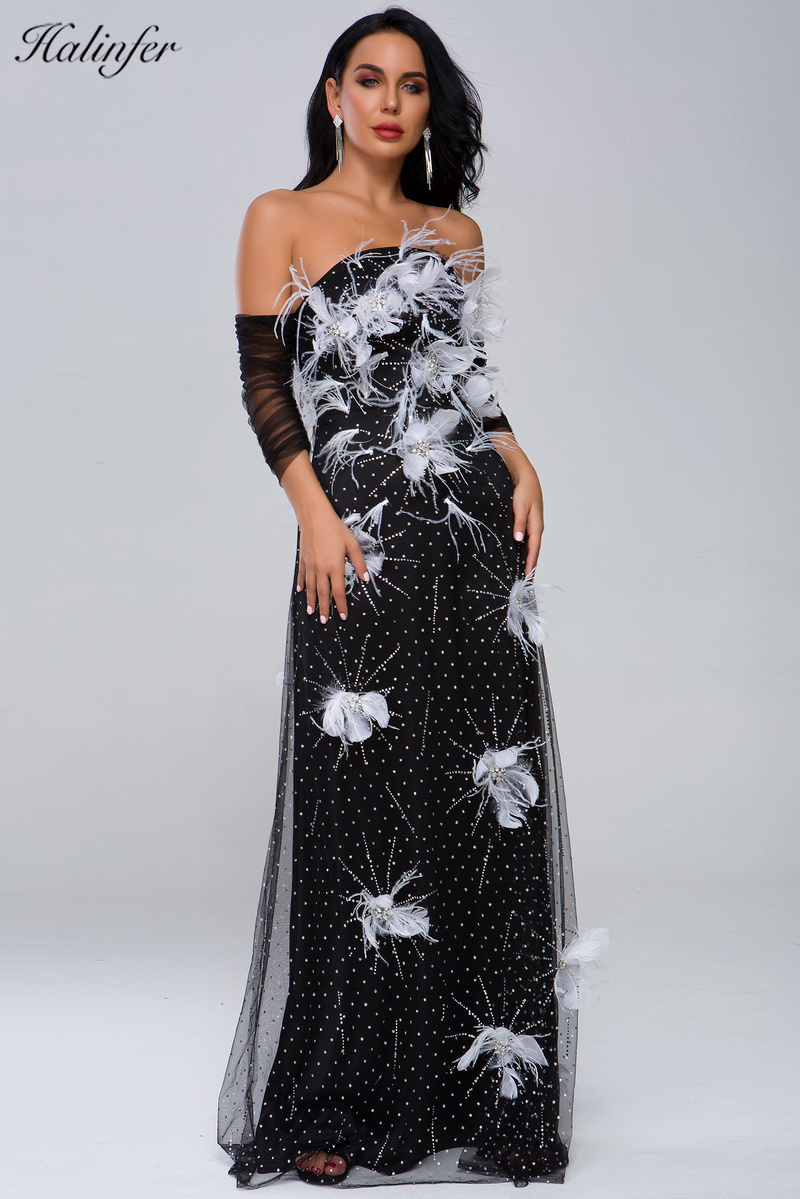 Elegant Dress black Feathers Good Quality Stretch Rayon Lace Floral Slash Neck Celebrity Cocktail Party Long Dress Vestidos in Dresses from Women 39 s Clothing