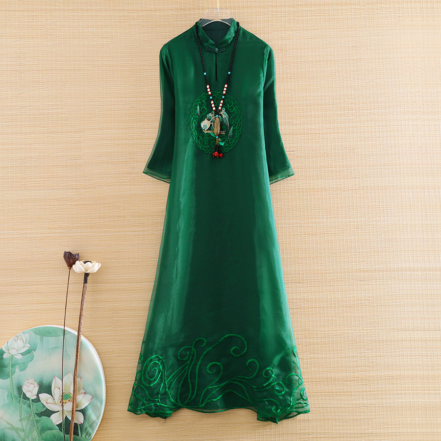 High-end Spring And Summer Organza Women Loose Cheongsam Dress Elegant Lady Embroidery  Zen Tea Ceremony Qiapao Dress S-XXL
