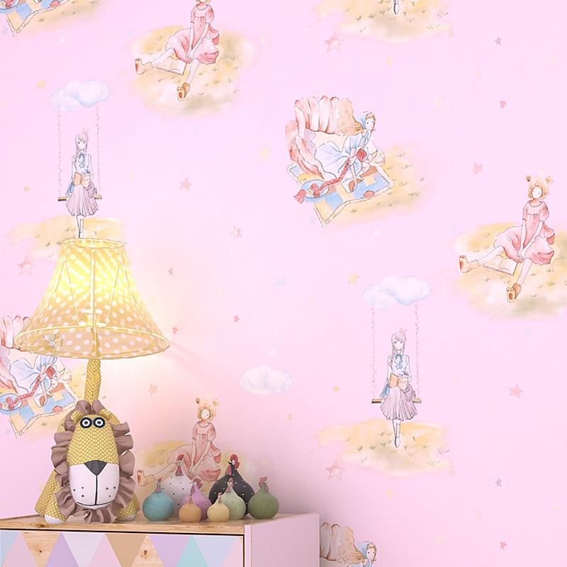 Chambre enfant papier peint garçon fille nordique princesse papier peint TV fond mur dessin animé fille fille fille coeur rose