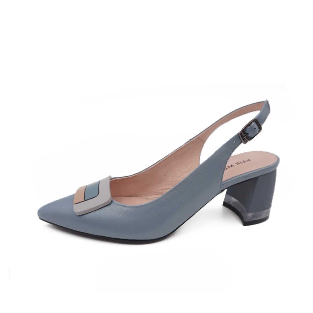 VAIR MUDO 2020 moda kalın topuk pompaları ayakkabı kadınlar hakiki deri sarı sivri toka bayanlar en kaliteli tek yüksek HeelD61