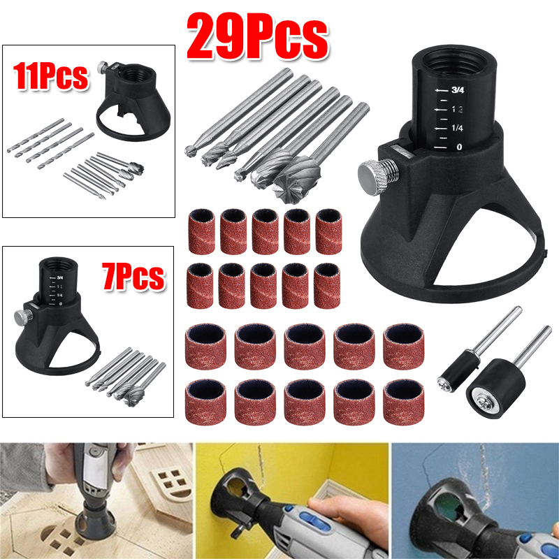 7/11/29Pcs Rotary Multi-Tool Electric Grinder Locator Drill Holder HSS Router Drill Bits Setrotary Horn Cap Drill Set