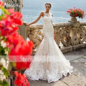 Image 4 - Adoly Mey Romantic Scoop Neck Tank Sleeve Mermaid Wedding Dresses 2020 Luxury Appliques Court Train Vintage Bride Gown Plus Size