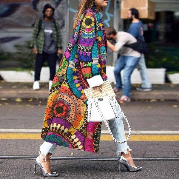 Coat Female 2019 Fashion Women Autumn Vintage Print Trench Coat Women Casual Long Coat Cardigan Trench Outerwear Oversize