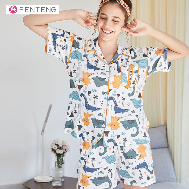 FENTENG Spring 100% Cotton Sleapwear Comforable Men/Women Clothes Set Short Sleeve Couples Pajamas Home Clothing F98021318