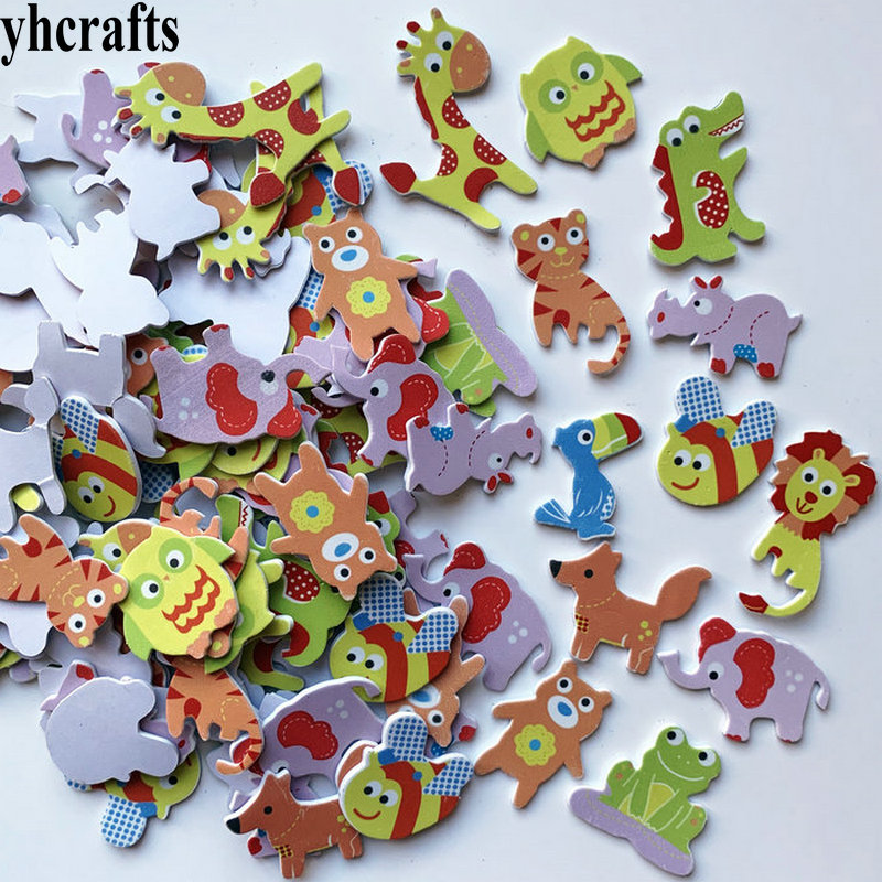1bag/LOT.owl frog lion dinosaur giraffe squirrel rhinoceros bee foam stickers kindergarten crafts Activity items room ornament