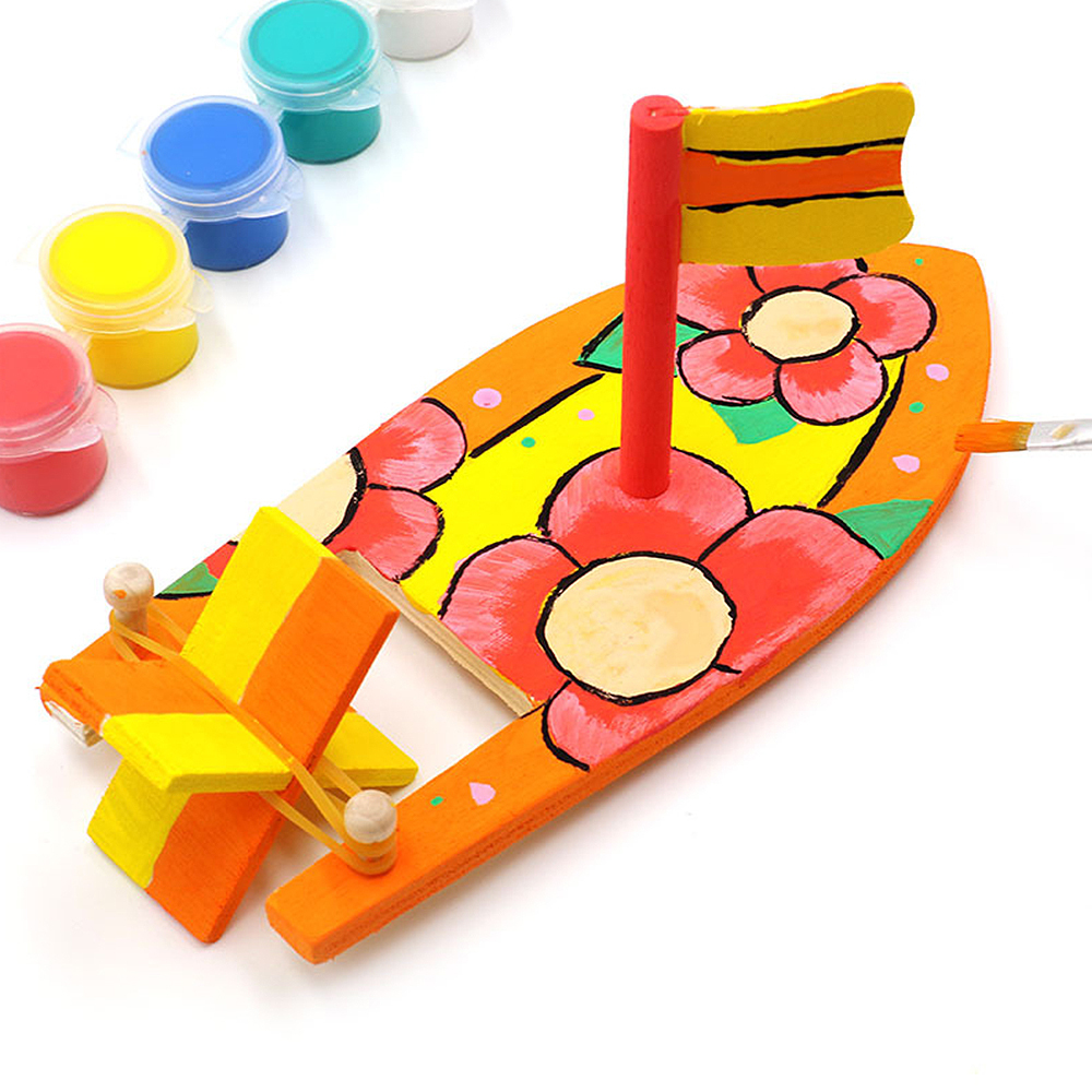 Kids DIY Wooden Sailboat Model Kindergarten Children Painted DIY Boat Handmade Kits Educational Puzzle Toys