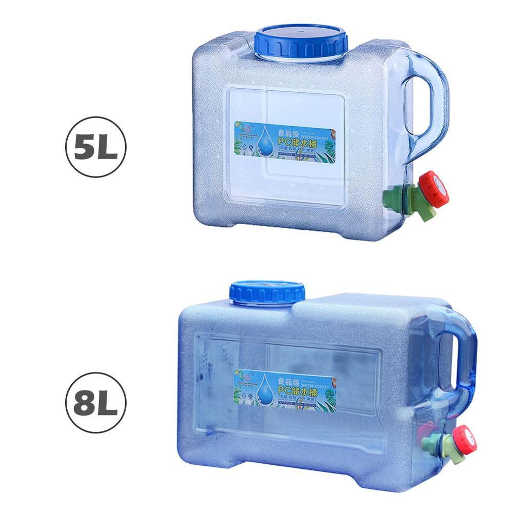 5L/8L Water Bucket Portable Camping Water Container with Tap Large Capacity Water Storage Container for Field Travel Car Use title=