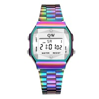 QW Sports 3ATM Vintage Womens Men Wristwatches Stainless Steel Digital Alarm Stop Waterproof LED Watch