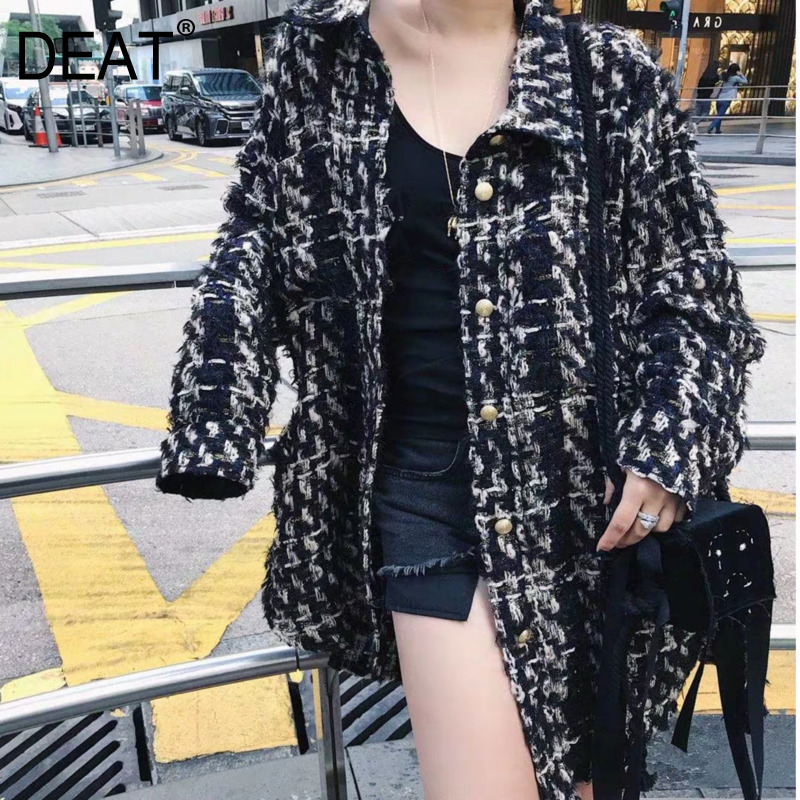 DEAT Досуг отложной воротник с длинным рукавом клетчатый узор однобортный женский тонкий шерстяной пиджак 2019 осень зима новый TD442