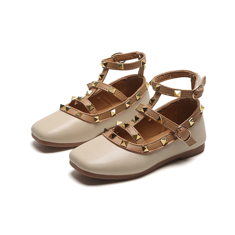 Fashion Rivets Girls Dress Shoes Baby Ankle Strape Kids Leather Shoes Girls Low Heels Children Gladiator Sandals Shoes D01264